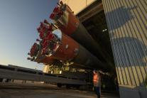 Prípravy na štart rakety Sojuz