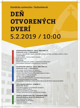 Deň otvorených dverí 2019 na Teologickej fakulte KU - Košice 5.2.2019