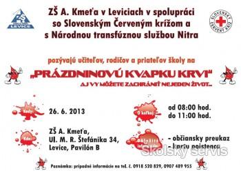 Základná škola Andreja Kmeťa Levice pozýva na prázdninovú Kvapku krvi