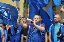 Protest zamestnancov PSA Peugeot Citröen