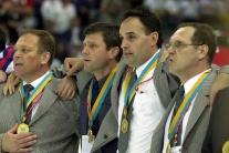 Na snímke zľava Ján Filc, Ernest Bokroš, Peter Šťa