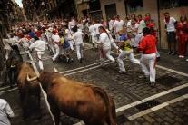 Beh s býkmi v španielskej Pamplone