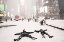 Husté sneženie v Manhattane
