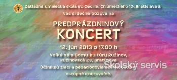 Predprázdninový koncert ZUŠ sv. Cecílie bude 12. júna
